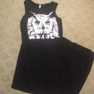 Maxi t-shirt Dress With Owl Design